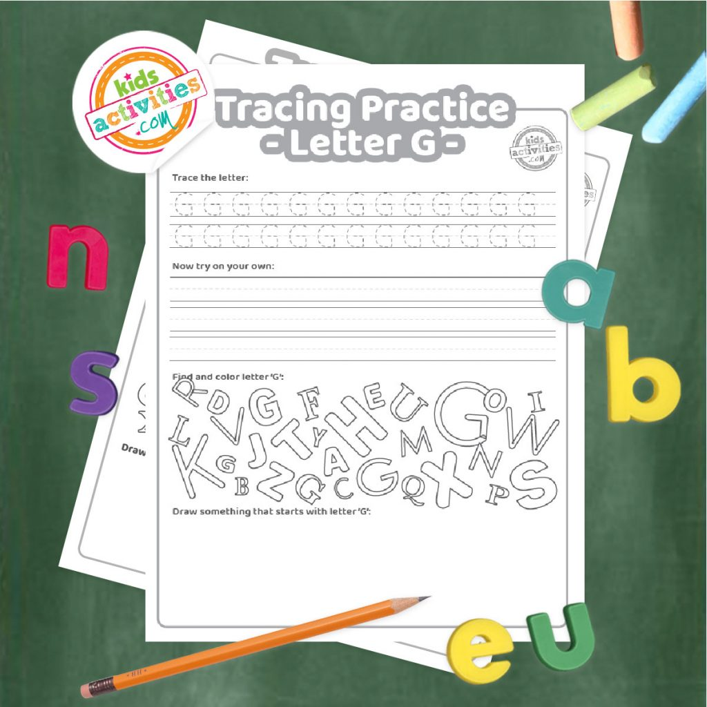 Tracing practice for uppercase and lowercase letter G printable worksheets - printed pdf shown on dark background with alphabet letters and pencil - Kids Activities Blog