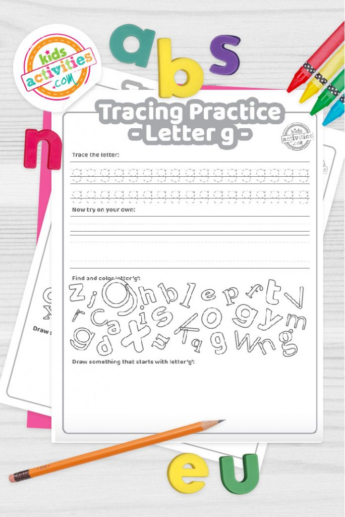 Letter G writing practice sheet pdf shown on decorative background with alphabet letters