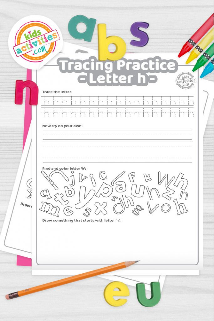 Letter H writing practice sheet pdf shown on decorative background with alphabet letters