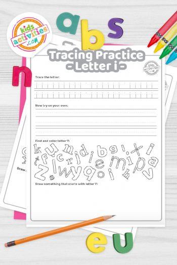Letter I writing practice sheet pdf shown on decorative background with alphabet letters