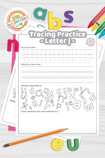 Letter J writing practice sheet pdf shown on decorative background with alphabet letters