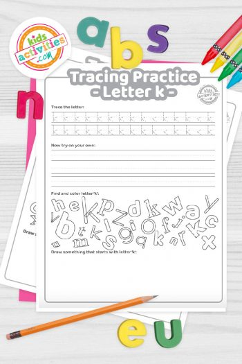 Letter K writing practice sheet pdf shown on decorative background with alphabet letters