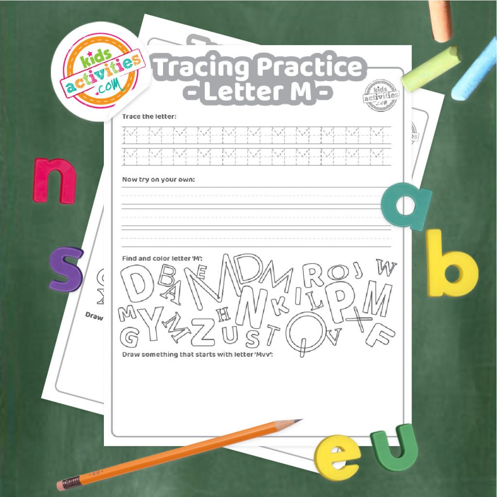 Tracing practice for uppercase and lowercase letter M printable worksheets - printed pdf shown on dark background with alphabet letters and pencil - Kids Activities Blog