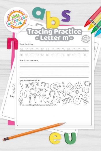 Letter M writing practice sheet pdf shown on decorative background with alphabet letters