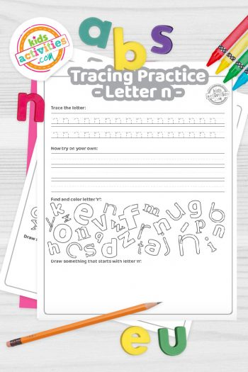 Letter N writing practice sheet pdf shown on decorative background with alphabet letters