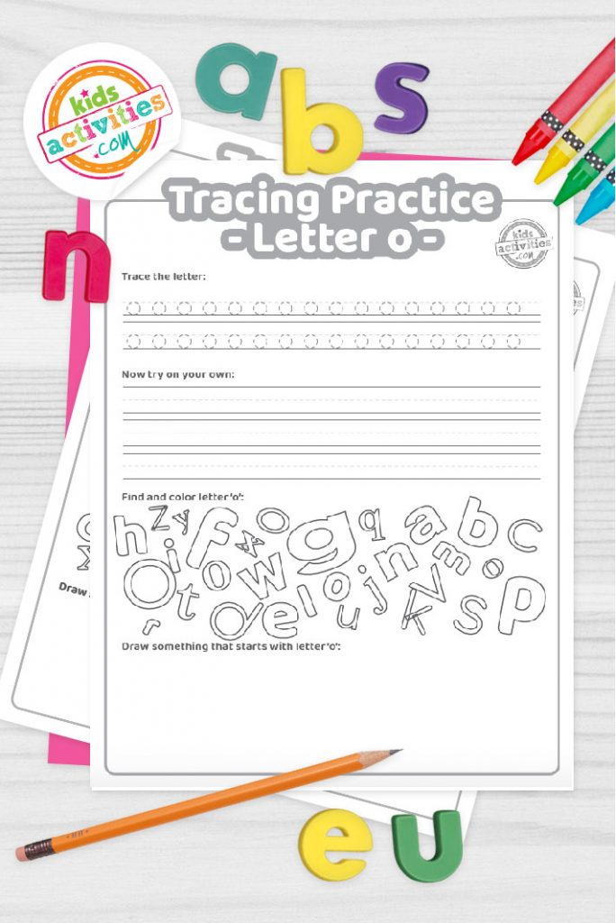 Letter O writing practice sheet pdf shown on decorative background with alphabet letters