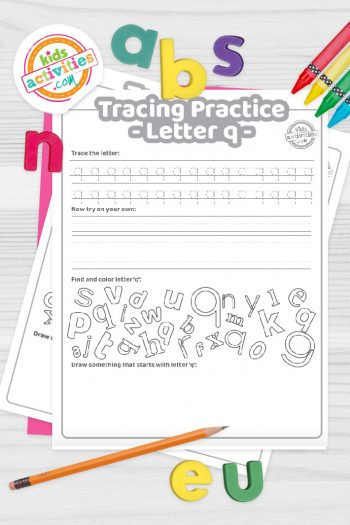 Letter Q writing practice sheet pdf shown on decorative background with alphabet letters