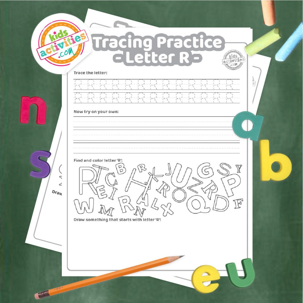 Tracing practice for uppercase and lowercase letter R printable worksheets - printed pdf shown on dark background with alphabet letters and pencil - Kids Activities Blog