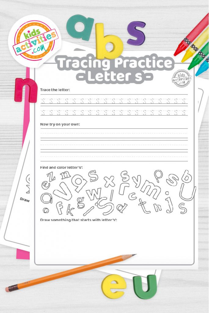Letter S writing practice sheet pdf shown on decorative background with alphabet letters