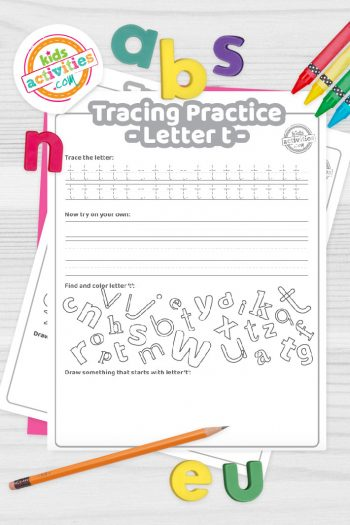 Letter T writing practice sheet pdf shown on decorative background with alphabet letters