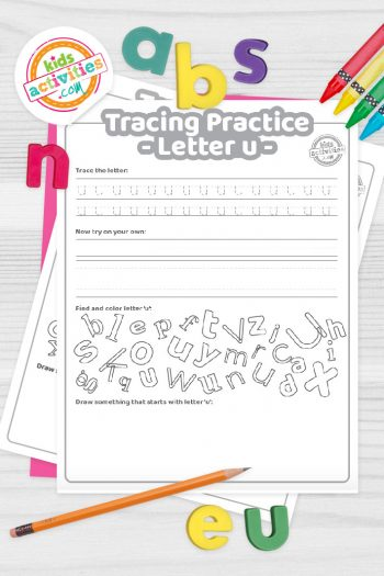 Letter U writing practice sheet pdf shown on decorative background with alphabet letters