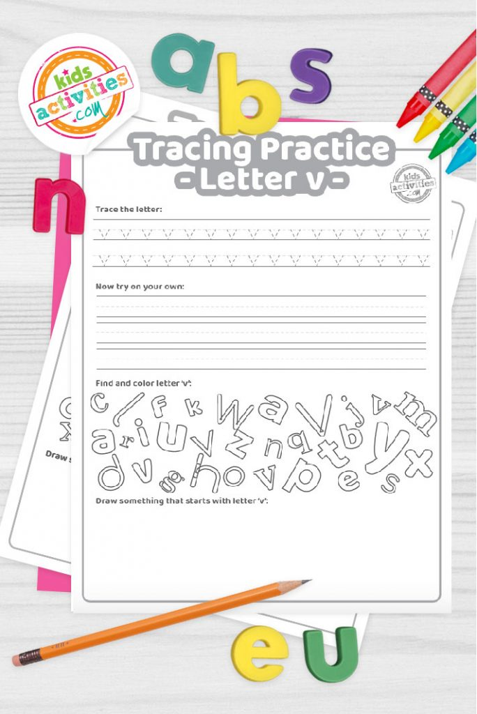 Letter V writing practice sheet pdf shown on decorative background with alphabet letters