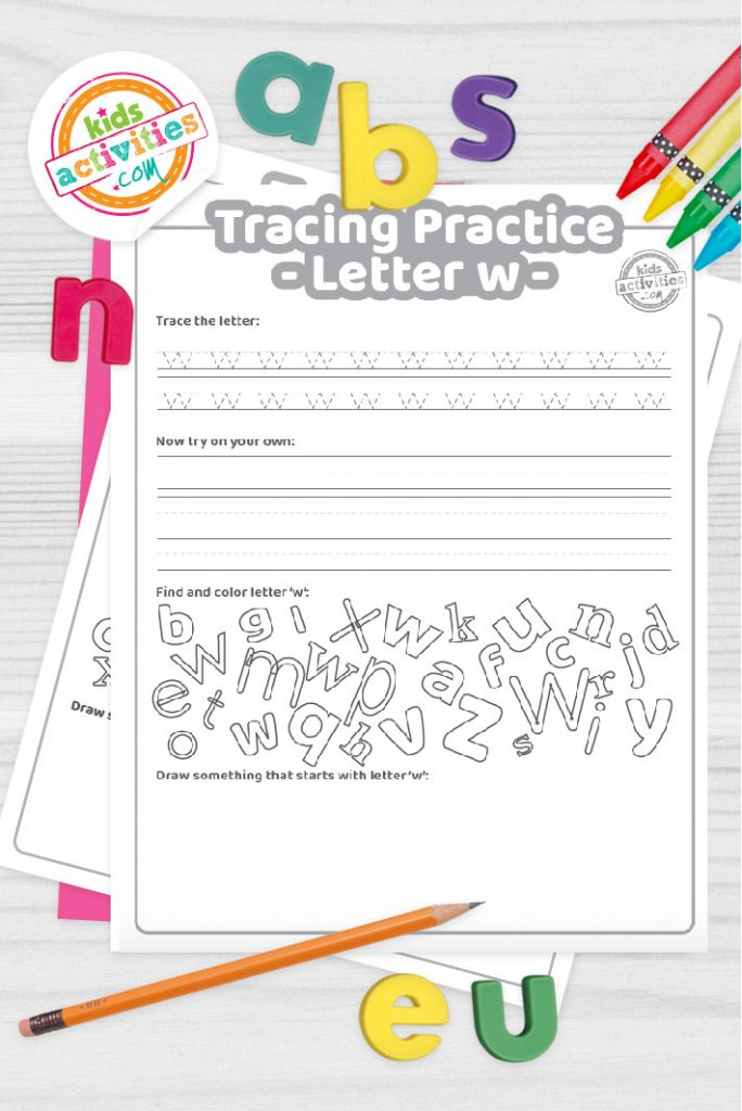 Letter W writing practice sheet pdf shown on decorative background with alphabet letters