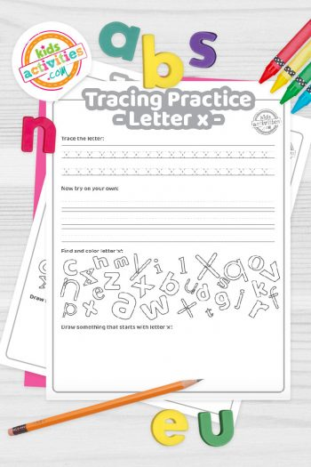 Letter X writing practice sheet pdf shown on decorative background with alphabet letters