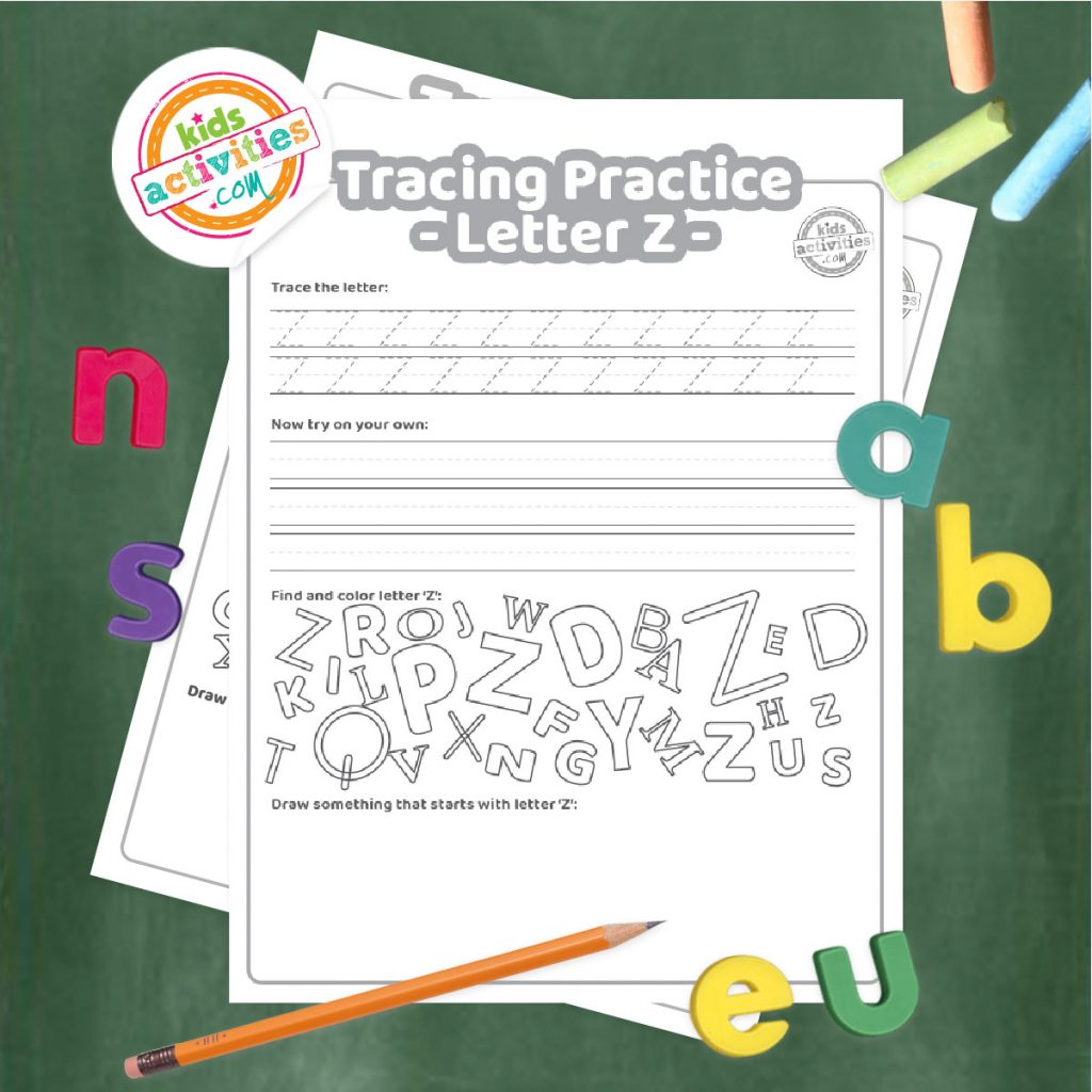 Tracing practice for uppercase and lowercase letter Z printable worksheets - printed pdf shown on dark background with alphabet letters and pencil - Kids Activities Blog