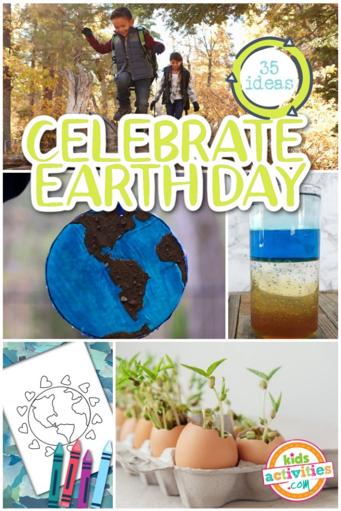 35 ideas to celebrate Earth Day from home with kids - 5 ideas pictured from the list - outside walk with family, Earth day craft, learn about earth's atmosphere, reuse recycle coloring pages and grow an egg carton garden