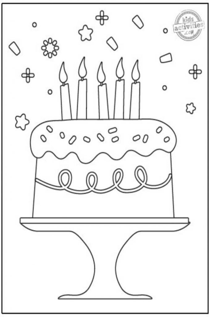 printable birthday cake coloring pages
