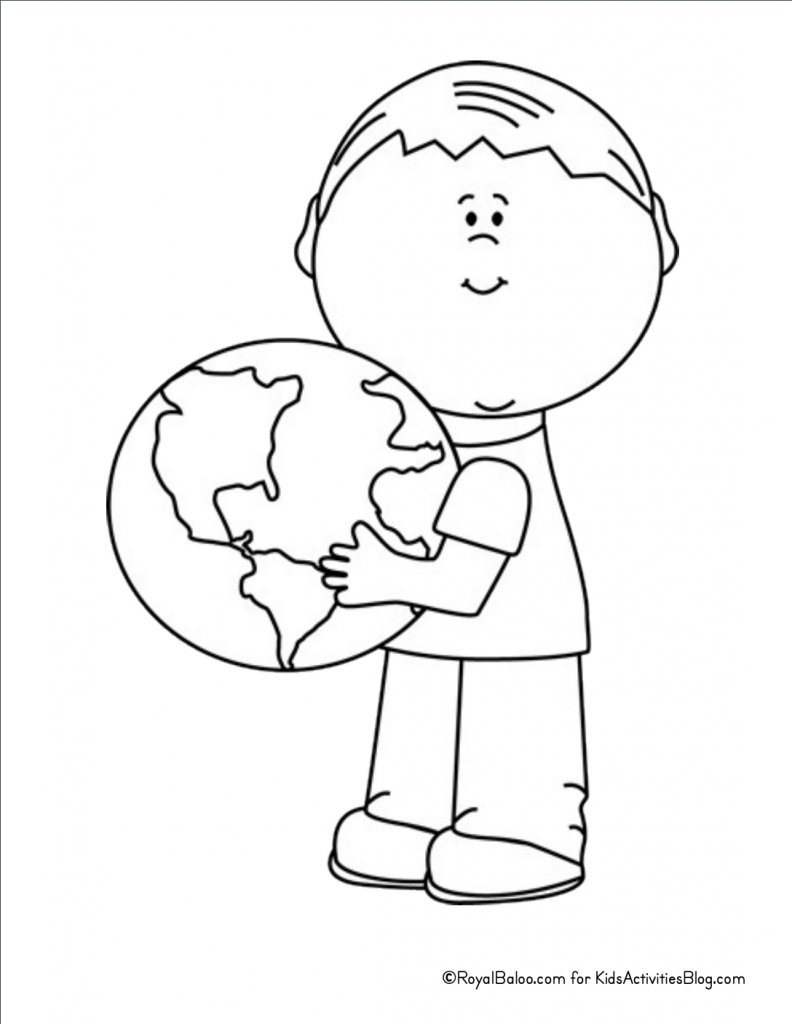 Earth Day Coloring Page - boy holding globe pdf