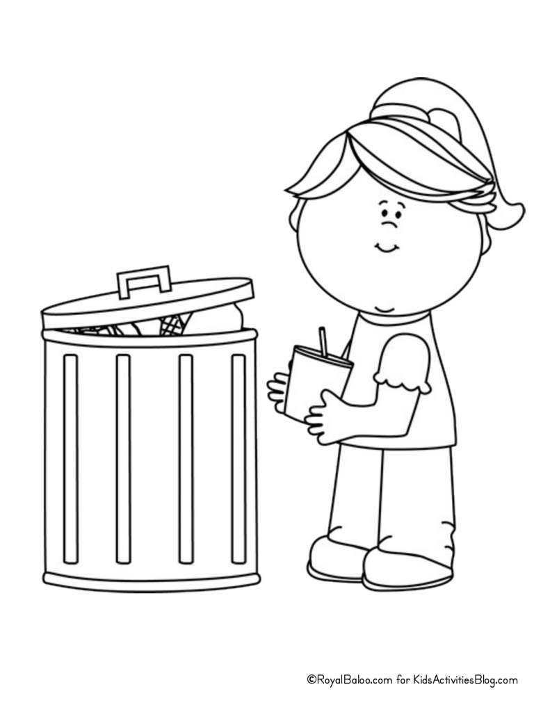 Earth Day Coloring Page - chid picking up trash pdf