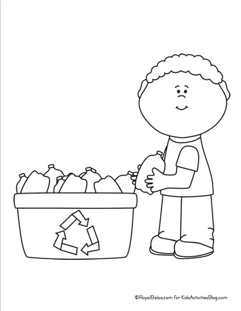Earth Day Coloring Page - child holding bottle next to bin