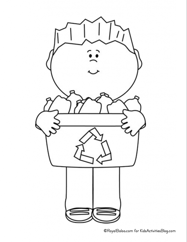 Earth Day Coloring Page - child holding recycling bin pdf