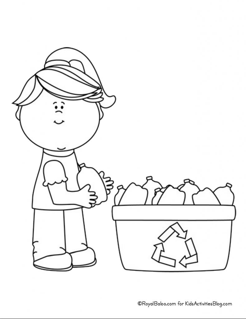 Earth Day Coloring Page - child holidng bottle next to recycling