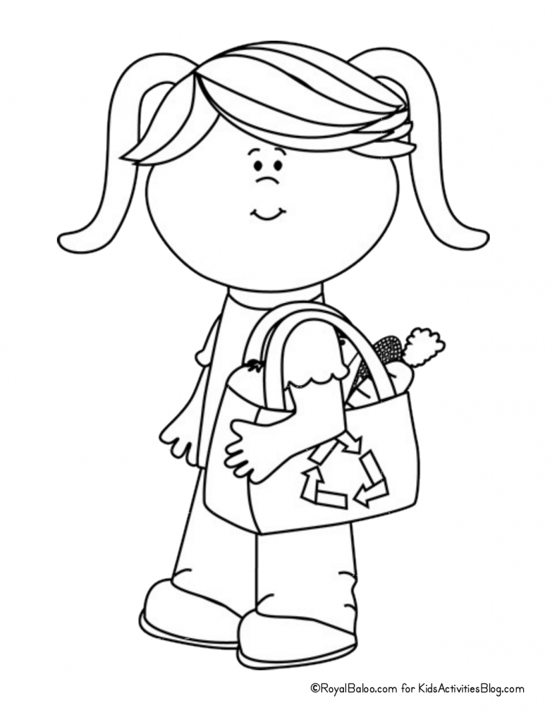 Earth Day Coloring Page - child shopping with reusable bag pdf