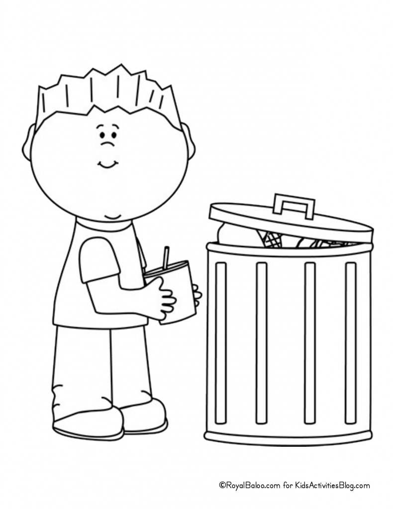 Earth Day Coloring Page - child throwing away trash