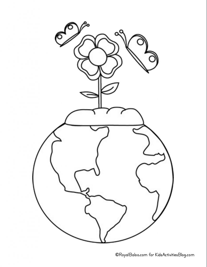 Earth Day Coloring Page - earth with flowers growing