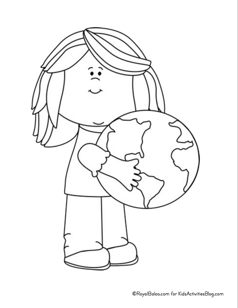 Earth Day Coloring Page - girl holding globe pdf