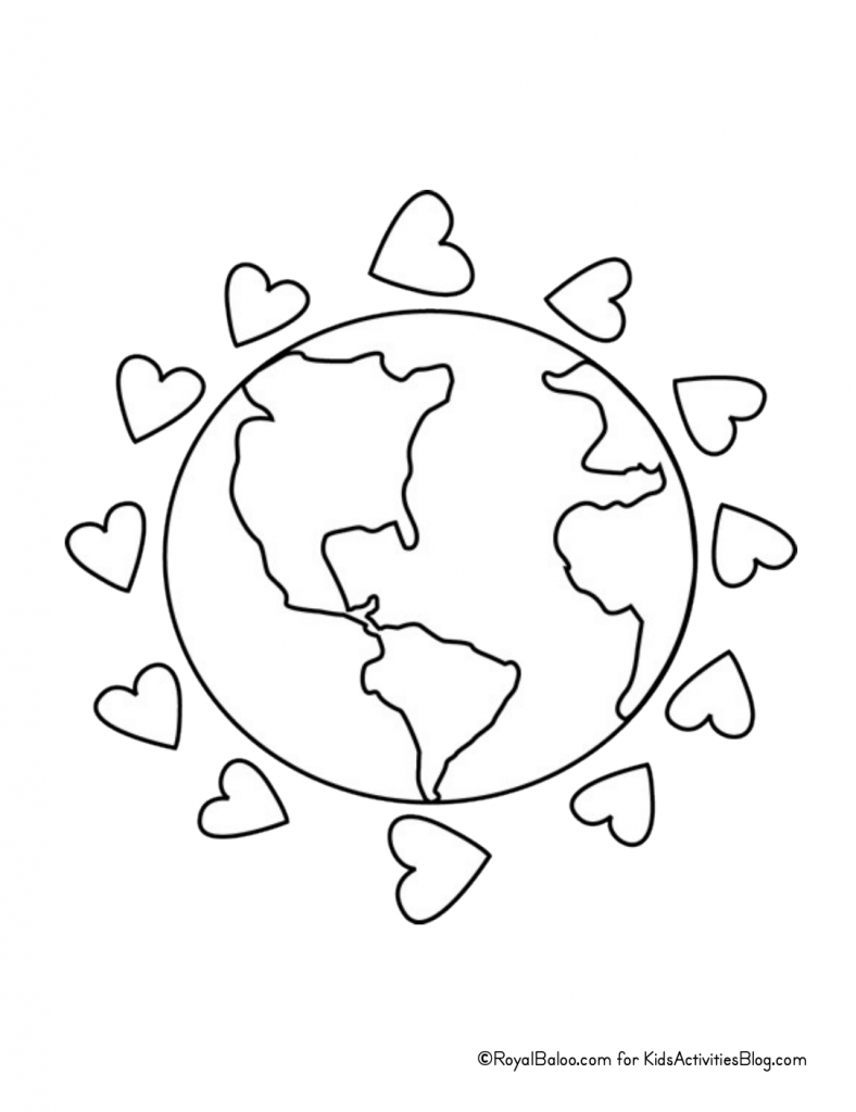Earth Day Coloring Page - hearts surrounding a globe pdf