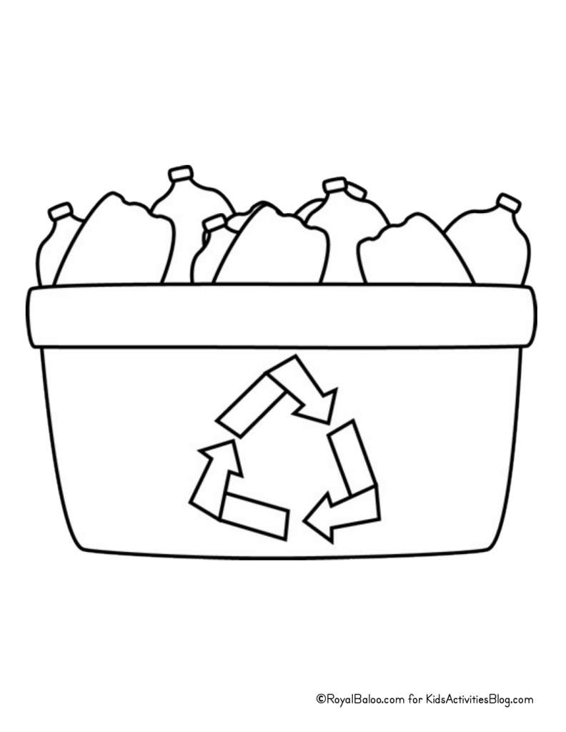 Earth Day Coloring Page - recycling bin with bottles pdf