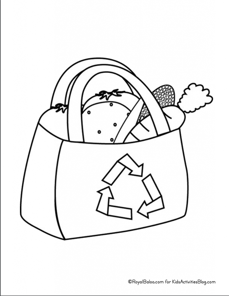 Earth Day Coloring Page - recycling grocery bag pdf