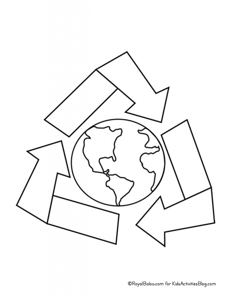 Earth Day coloring page - recycling arrows surrounding globe pdf