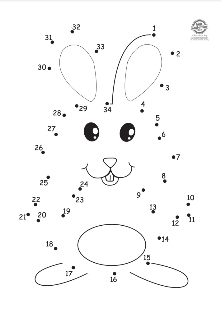 Easter bunny dot to dot pdf worksheet for pre-k and kindergarten level with numbers 1-34