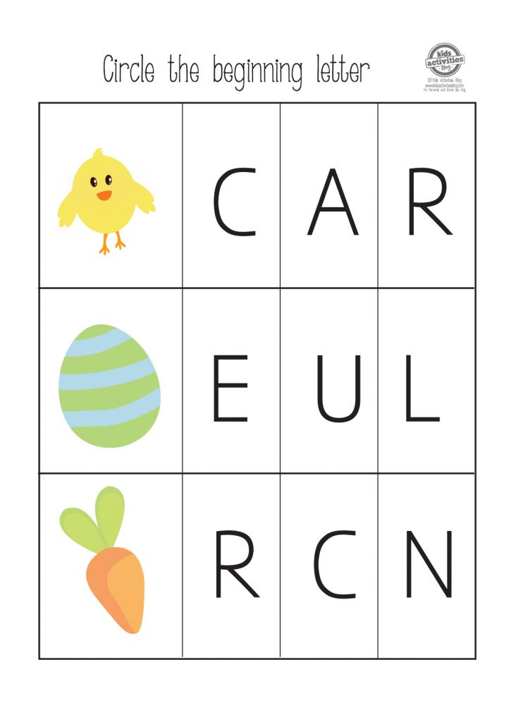Easter themed pre-k and kindergarten worksheet - circle the beginning letter of chick, egg and carrot