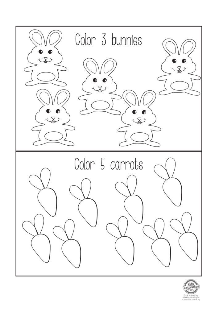 Pre-K Easter worksheet pdf - count and color activity.  Color 3 bunnies and color 5 carrots from Kids Activities Blog