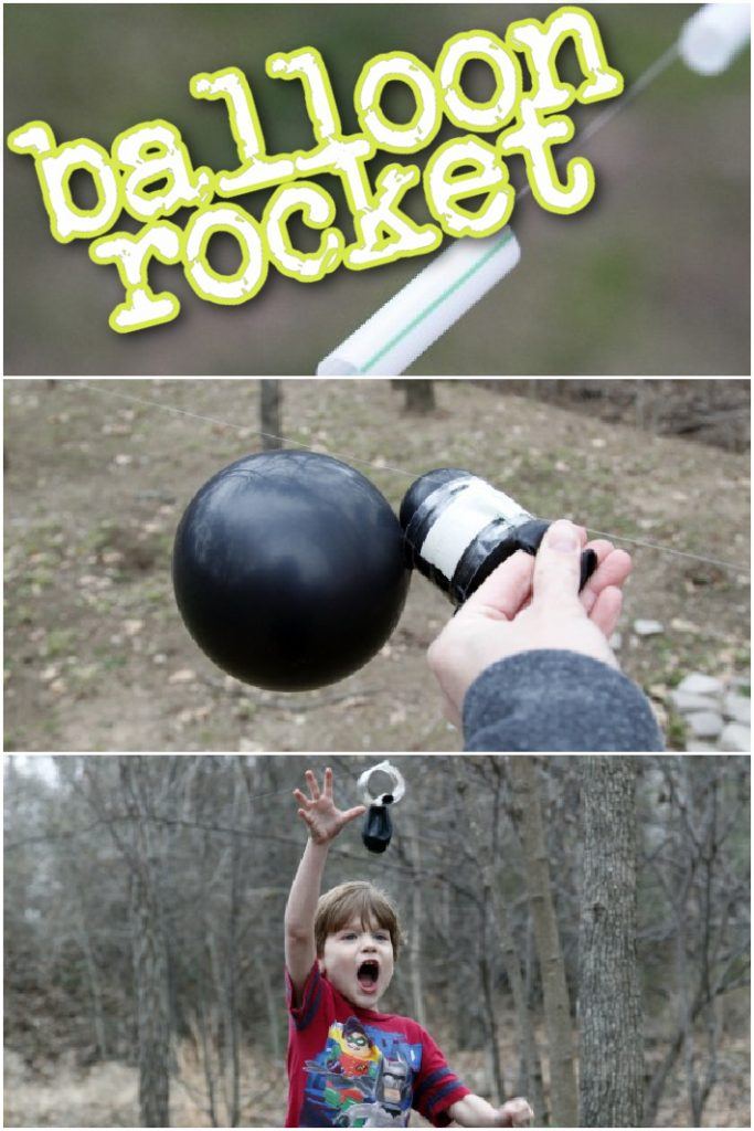 How to make a balloon rocket - three steps shown with straws on string tied at the string ends, adding a balloon to the straw and child chasing balloon rocket path