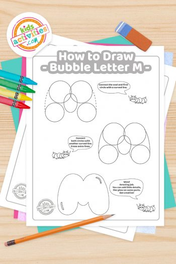 How to draw a Bubble Letter M printable tutorial pdf shown with crayons, pencil and eraser - Kids Activities Blog