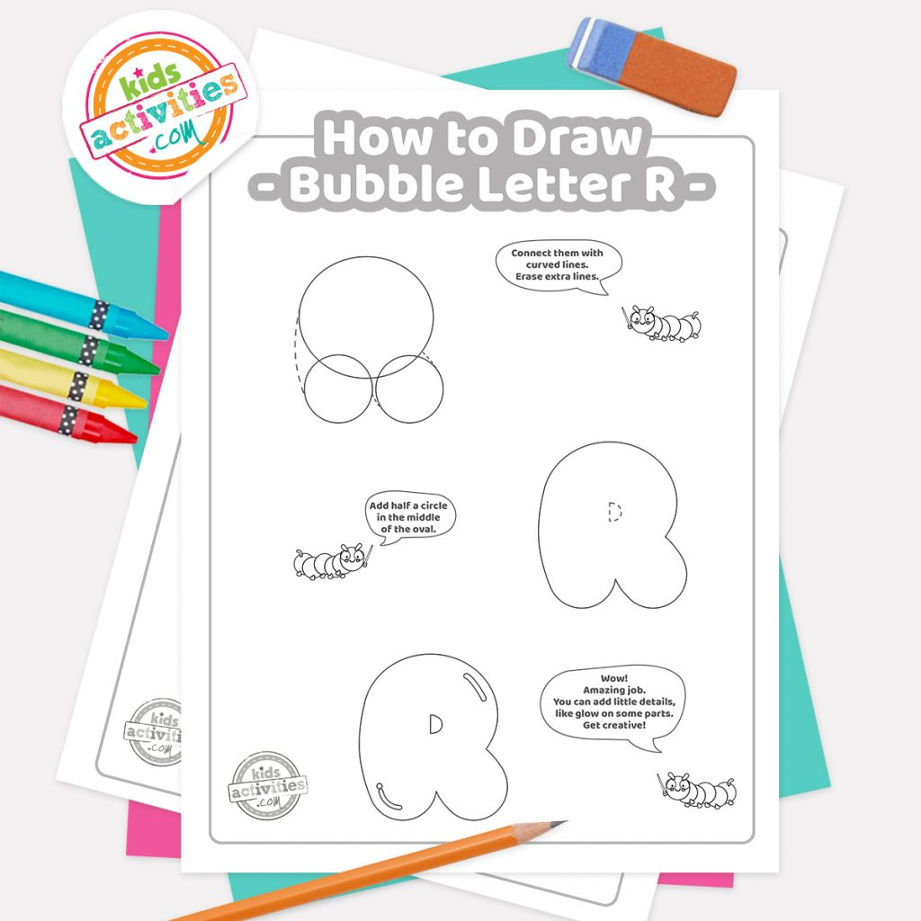 How to draw graffiti Bubble letter R pdf page one with steps 1-3 next to eraser, pencil and colored pencils - Kids Activities Blog