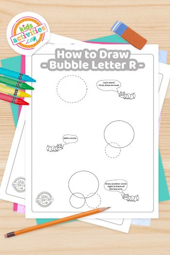 How to draw a Bubble Letter R printable tutorial pdf shown with crayons, pencil and eraser - Kids Activities Blog