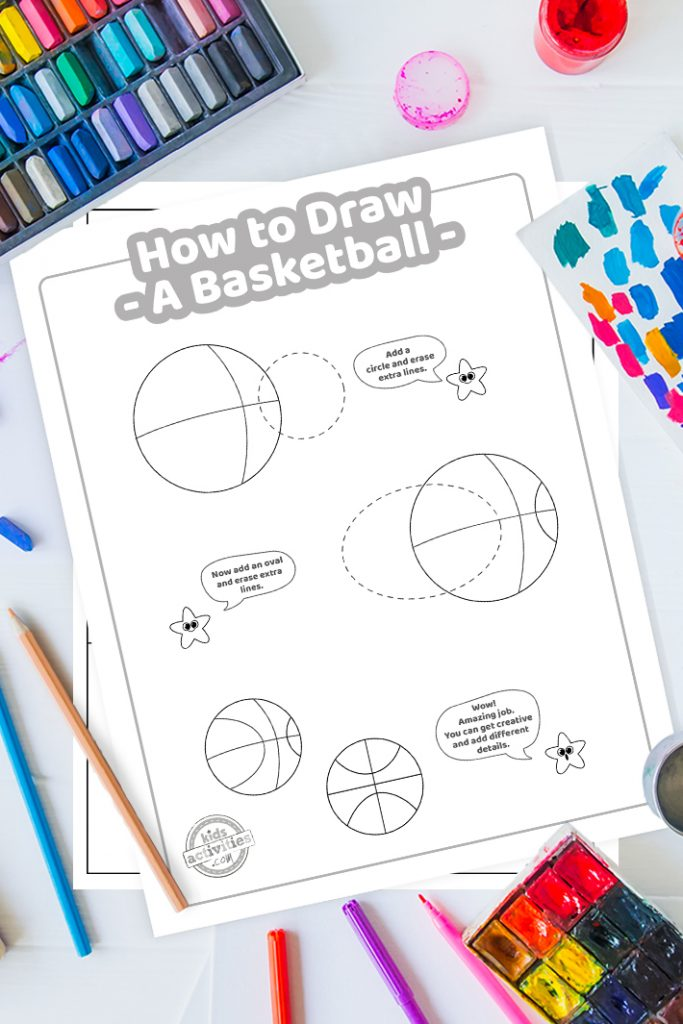 step by step how to draw a basketball