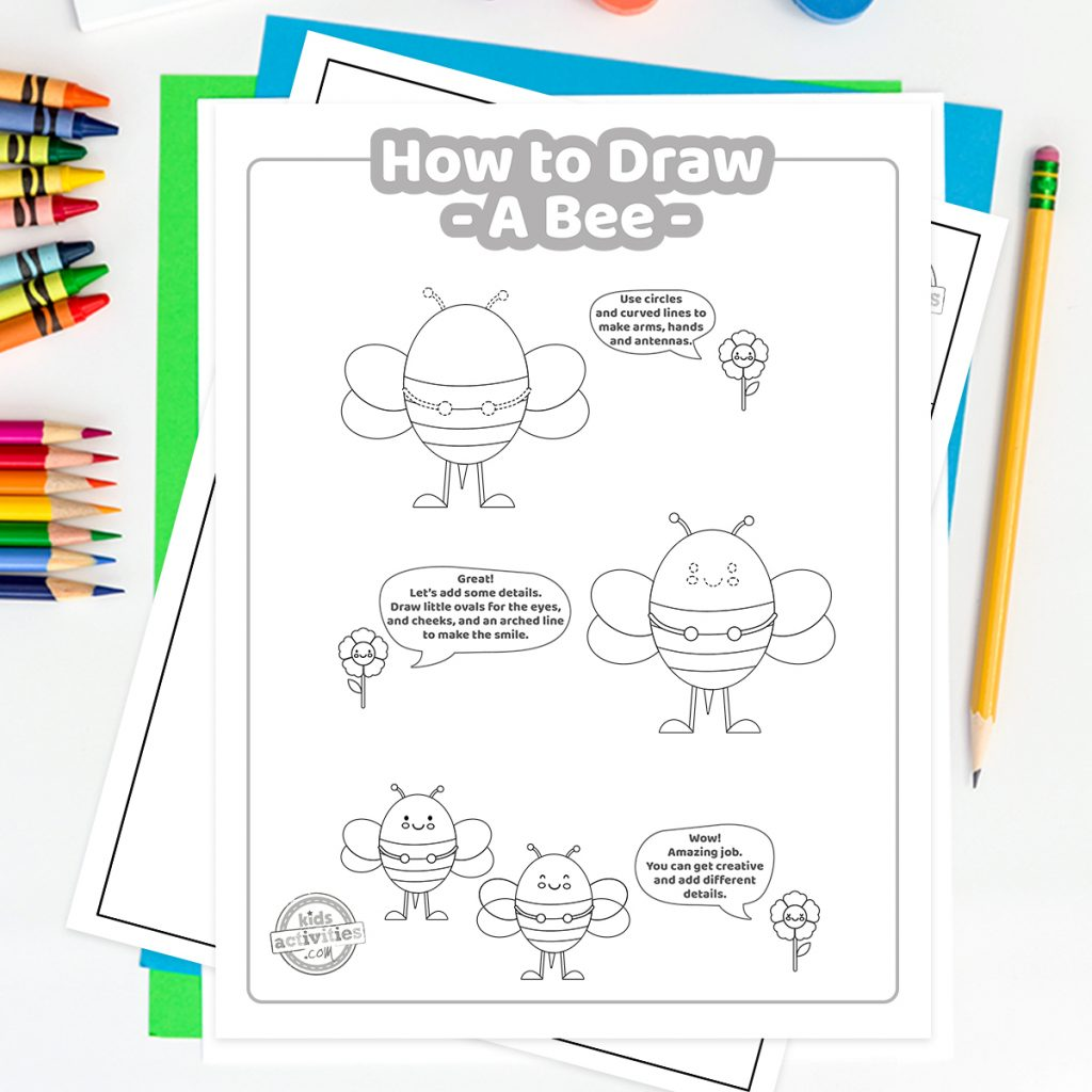 step by step how to draw a bee