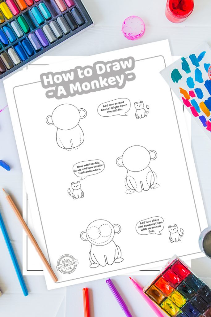 how to draw a monkey step by step