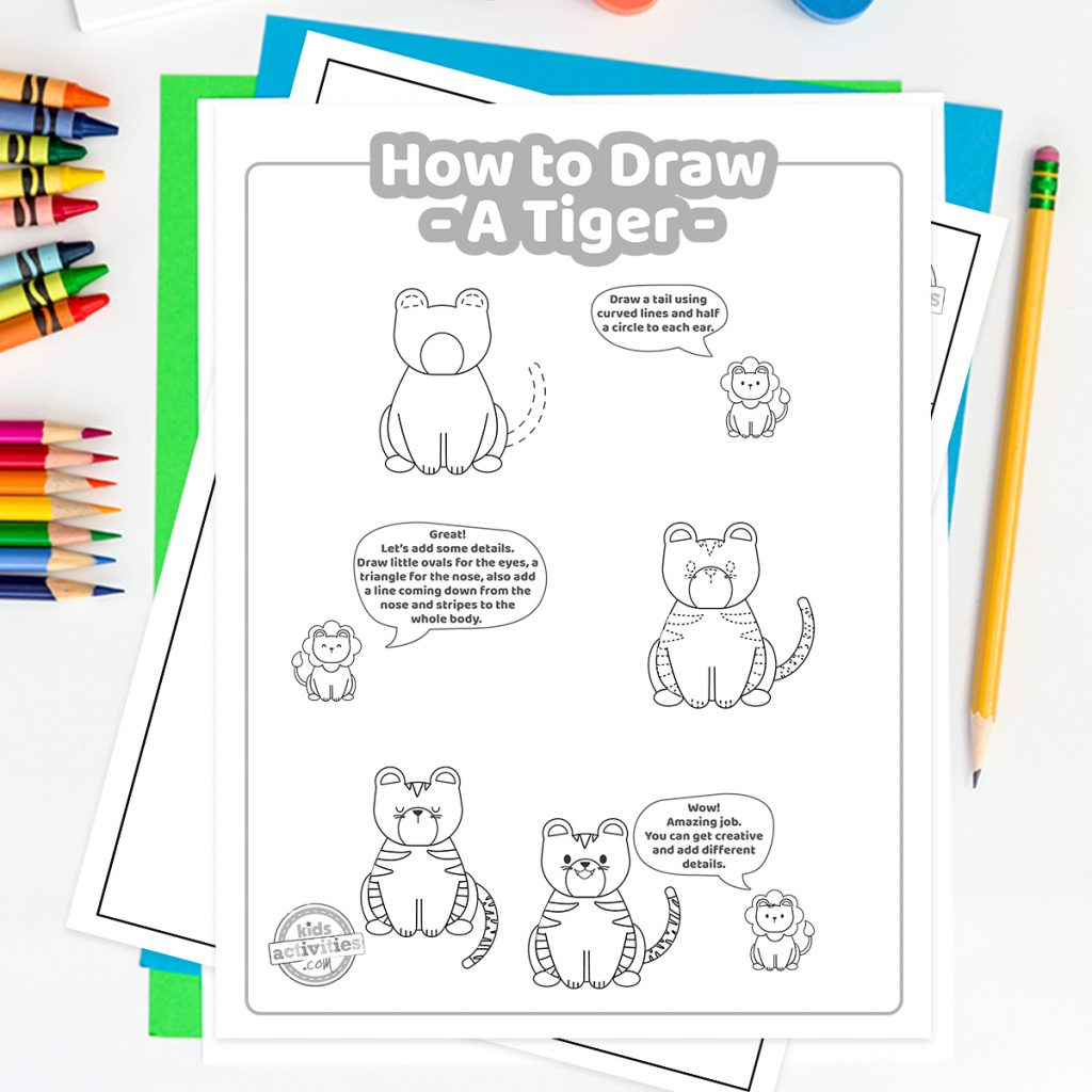 step by step how to draw a tiger