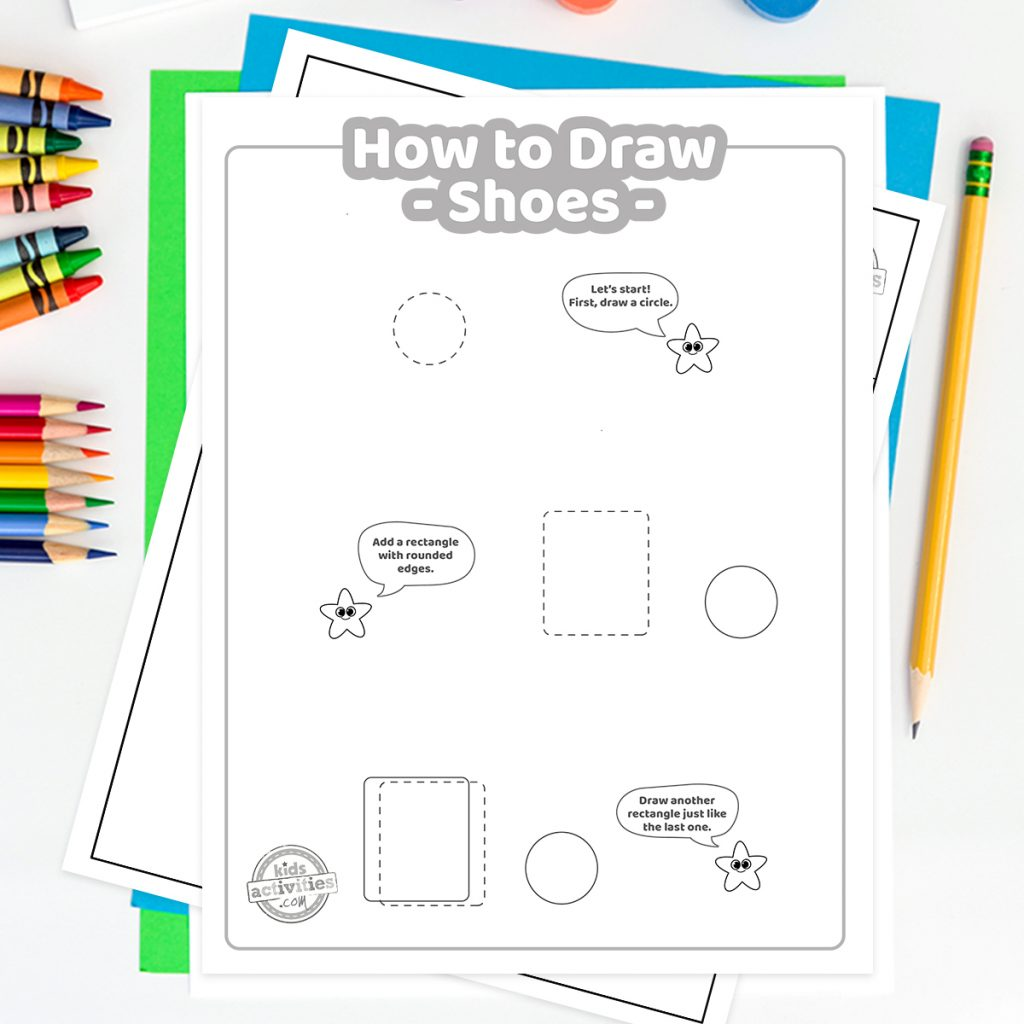 how to draw shoes for kids