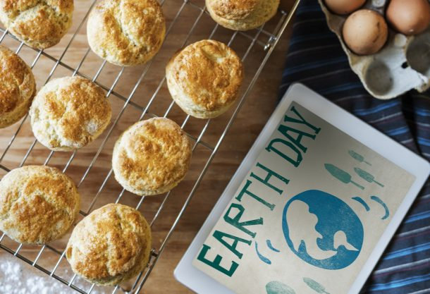 Earth Day baking together - biscuits cooling on a rack