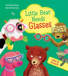 Usborne's Little Bear Needs Glasses book cover with fun illustrations of animals wearing glasses.