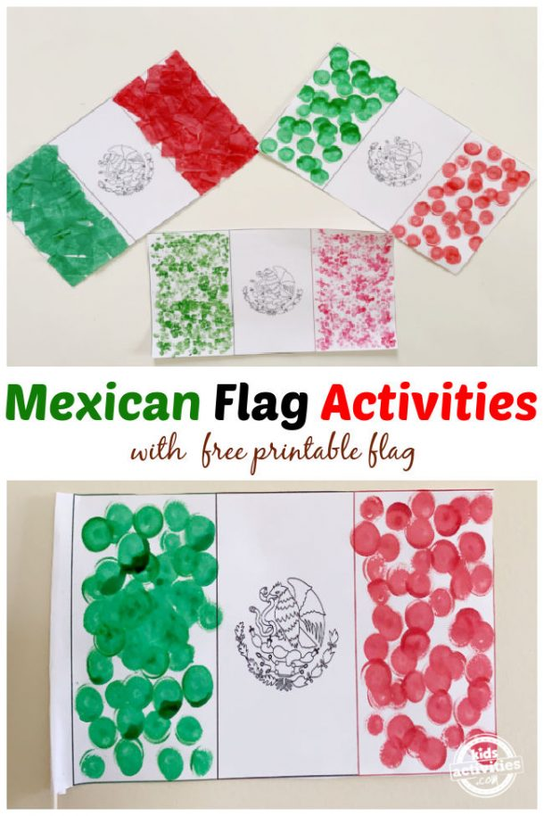 3 different mexican flag activities using free printable flag