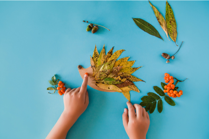 Making a collage or art picture from found nature items like leaves, berries, acorns and sticks